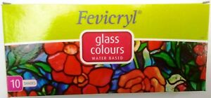 Pidilite Fevicryl Glass Colours Water Based 10 Shades Glass Colors