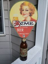 Acme Beer sign bottle topper 1940s with bottle