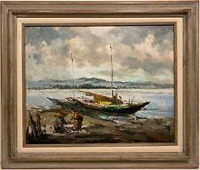 OSCAR T. NAVARRO 20th c. Filipino PAINTING Manila Fishing Boat 1963 PHILIPPINES