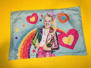 Standard Size Jojo Siwa Pillowcase Teal Rainbow Hearts