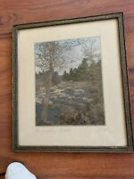 "Charles Sawyer Hand Colored Photo  ""The Laughing Brook"" Framed Signed"