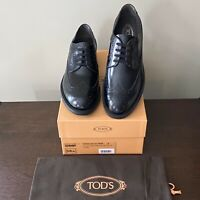 TOD'S Men's BLACK Wingtip Brogue Derby Lace-up in Leather Size 9 (10 US)