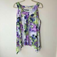 Zac & Rachel Women's Sleeveless Top Size XL Lined Casual Dressy Purple Blue