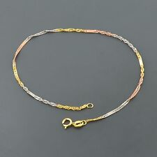 """10K MULTI-TONED GOLD TWISTED SINGAPORE 7.5"""" BRACELET WITH PLAQUE STATIONS"""