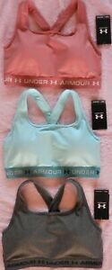 UNDER ARMOUR~ Padded Crossback 2.0 Women's Athletic Sports Bra ~LARGE~ LOT OF 3