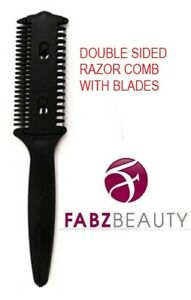 Hair Razor Comb Professional Double Sided Hair Cutting Comb With Blades Black