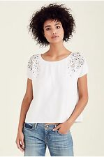 NEW NWT TRUE RELIGION STUDDED EMBELLISHED WHITE SUMMER WOMENS TOP L