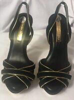 BCBGMAXAZRIA Women's Stilettos Sandals Black Gold Suede Slingback Strap Size 5.5