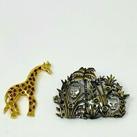 JJ Brooches Pins Safari Giraffe Lions Safari Gold Tone 2 Pc Gold Silver Tone