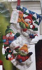 "Bucilla Snow Fun Snowman Jeweled Felt Applique Christmas Stocking Kit 18"" New"