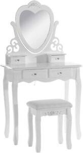 LOVE HEART PINK DRESSING TABLE WITH MIRROR & STOOL VANITY DRESSER BEDROOM