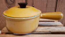 Vtg Le Creuset Enameled Cast Iron #14 Saucepan Pot w/Lid Flame Orange France