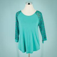 Fervour Modcloth Size Medium M  Top Tee Floral Sleeve Baseball Casual T Shirt