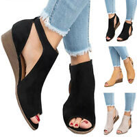 AU Women Wedge Heel Peep Toe Sandals Ladies Casual Ankle Buckle Shoes Size 4.5-9