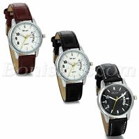 Mens Classic Charm Arabic Number Dial Leather Strap Quartz Wrist Wacth With Date