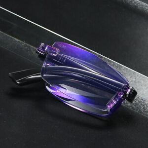Foldable Rimless Reading Glasses Portable Blue Light Blocking Readers +1.0~+4.0