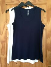 Ladies Size 30-32 (Plus Size) 2 Pack Ribbed Vest Tops In Navy And White
