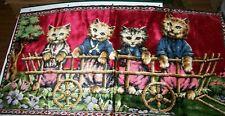 """Vintage Red Velvet Kitty Cat Kitten Wall Hang Tapestry Rug 40"""" x 20"""""""