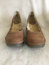 FLY London Leather Slip On Wedges - Yelk, Beige, Size 7 - 71/2 (Eur 38), New