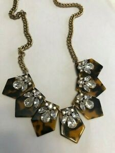 J.Crew Factory Faux Tortoise Shell & clear rhinestone crystal statement necklace