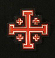 3D PVC JERUSALEM CROSS CRUSADER GLOW RED OPS VELCRO® BRAND ARMY MORALE PATCH