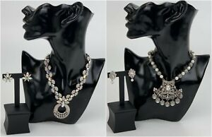 Kyles Collection Silver Necklace With Earrings Set Wedding Bridal Jewellery Sets