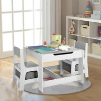 NEW 3-in-1 Kids Table and 2 Chairs Set Multi-functional Activity Play Desk