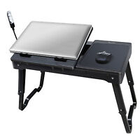 Laptop Table Tray Foldable Desk Tablet Desk Stand Bed Sofa Couch+Cooling Fan US