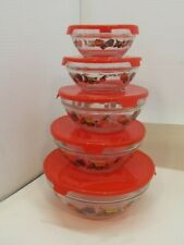 Set of Five Glass Bowls with Lids Stacking Nesting Bowl Set Red Fruit