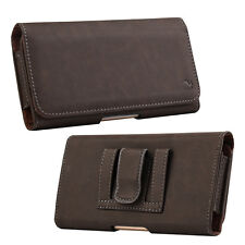 Brown Genuine Leather Case Clip Luxmo Horizontal Pouch for Motorola Mo