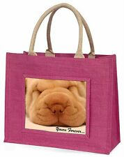 Shar-Pei Puppy 'Yours Forever' Large Pink Shopping Bag Christmas Pres, AD-90yBLP