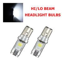 2X H6 BA20D Ampoule de Phare Hi-Lo Beam 6W 2 COB LED Moto Mobylette ATV Blanc