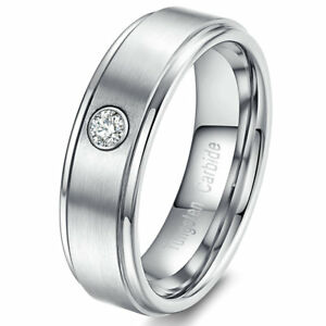 Men's Women Tungsten Carbide Ring Brushed Center Silver ED CZ Stone Wedding Band