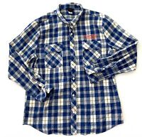 Netflix Stranger Things Blue Plaid Striped Button Down Shirt Mens Size XL