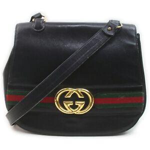 Vintage Gucci Shoulder Bag Sherry Interlocking G Black Leather 1902416