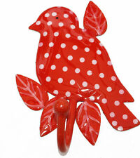 Cute vintage DOTTY BIRD BRANCH HOOK - Red, Polka Dot the red bird