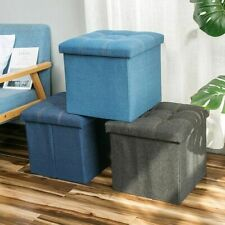 Storage Stool for Compact Living Room Denim Fabric Sitting Stool for Storage