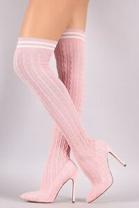 Pink Knitted Sock Thigh High Boots 5.5