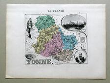 YONNE carte géographique Vuillemin Atlas Migeon AUXERRE TONNERRE VAUBAN DAVOUST