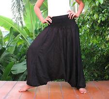 New Handmade Baggy Hippy Genie Yoga Harem Pants Trousers Jumpsuit Black