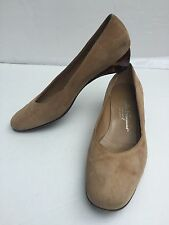 Salvatore Ferragamo Boutique 7.5 B Slip-On Brown Suede Tortoise Translucent Heel