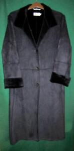 LUIS CIVIT Barcelona Spain UK16 Black Faux Suede Moleskin-feel Long Winter Coat