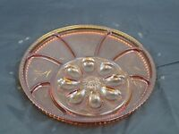 RARE VINTAGE GOLDEN AMBER INDIANA GLASS DEVILED EGG RELISH TRAY DISH PEBBLE LEAF