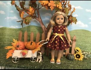 American Girl fitting Fall - Thanksgiving dress, 18 in doll clothes