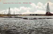 MUSKOGEE OKLAHOMA EARTHEN POOL OF OIL~100,000 BARELS~WHEELLOCK PUBL POSTCARD
