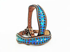"""12"""" TURQUOISE FLORAL WESTERN STYLE LEATHER BLING CRYSTALS CANINE DOG COLLAR"""