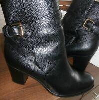 L.K. Bennett Black Leather Ankle Boots Size 37