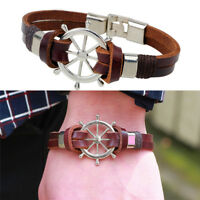 Vintage Rudder Design Männer Armband-Double-Layer-Leder Classic Schmuck CM YR