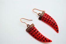 Fashion Drop Dangle Red Horn Rhinestone Bohemian Style Earrings A39 #3-64