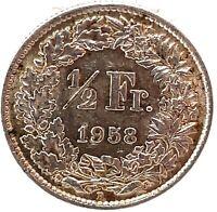 Switzerland 1/2 Franc 1958 B  Silver Coin KM#23.